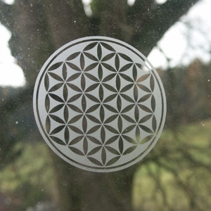 Lebensblume Aufkleber transparent klein 11cm